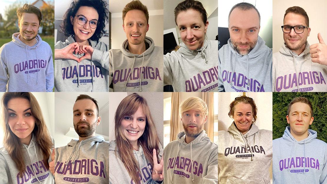 Da die Studierenden 2020 Corona-bedingt nicht an die Quadriga Hochschule kommen durften, kam die Quadriga Hochschule zu den Studierenden nach Hause - in Form von Kapuzen-Pullovern im US-College-Style. (Foto: Collage aus Privatbildern)