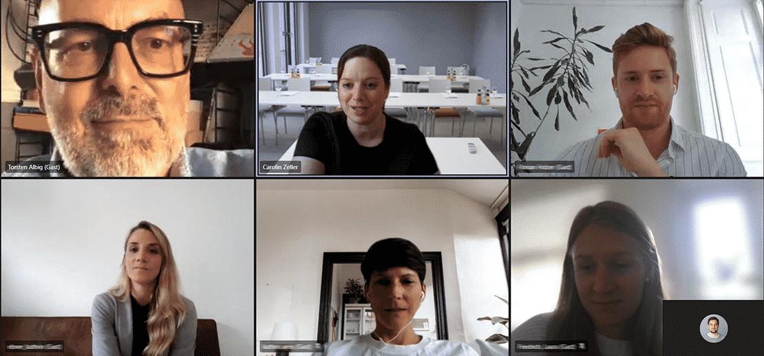 Quadriga-Vizepräsidentin Carolin Zeller am virtuellen Stehtisch mit Torsten Albig und neuen Studierenden. (Screeenshot aus Microsoft Teams)