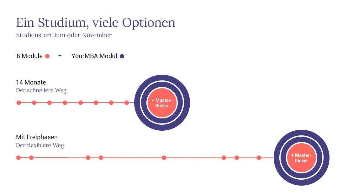 Das Bild zeigt die verschiedenen Optionen für ein Studium an der Quadriga Hochschule: Start im Juni oder November, Studiendauer von 14 Monaten oder erweiterbar über Freiphasen.